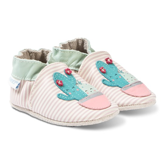 Robeez Soft Soles™ Leather Crib Shoes Cactus/Off White Stripe 31