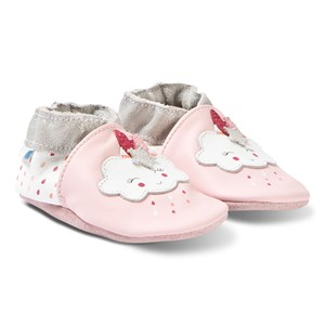 Image of Robeez Soft Soles™ Leather Crib sko Cotton Cloud/Rose Crystal 17-18 (0-6 months) (3125256107)