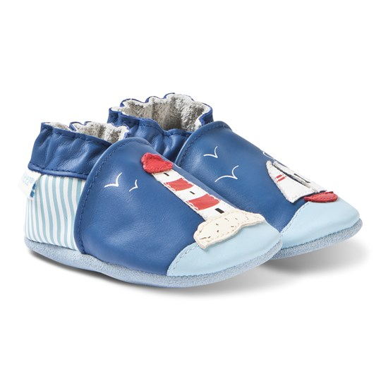 Robeez Soft Soles™ Leather Crib Shoes Sea View/Dark Blue 52