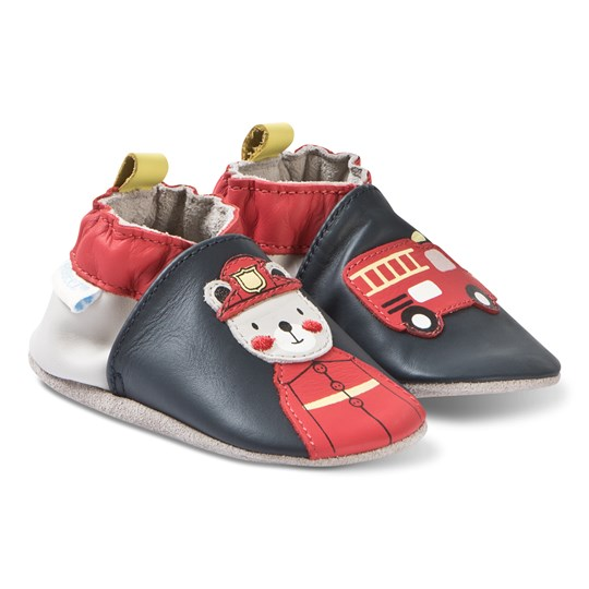 Robeez Soft Soles™ Leather Crib Shoes Fireman/Navy 10