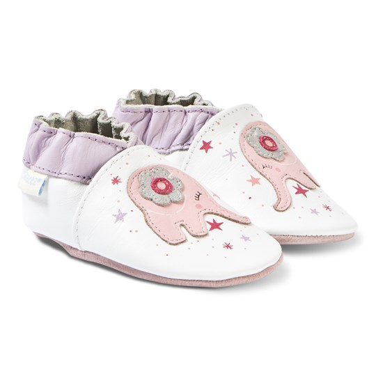 Robeez Soft Soles™ Leather Crib Shoes Dreamy Elephant/White 3