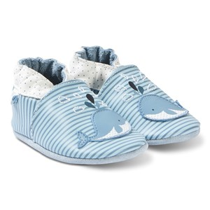 Image of Robeez Soft Soles™ Leather Crib sko Funny Whale/Blue Stripe 17-18 (0-6 months) (3125272319)