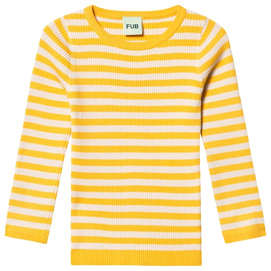 FUB Striped Rib Blouse Yellow Ecru yellow ecru