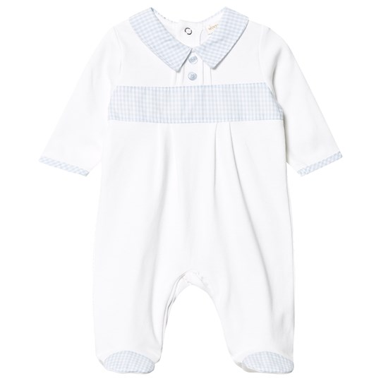 Mintini Baby White/Blue Gingham Detail One-Piece White