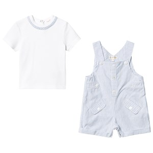 Image of Mintini Baby Blue/White Stripe Tee Romper Set 12 months (3125301759)