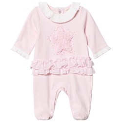 Mintini Baby Pink Star Applique Ruffle One-Piece