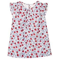 Bonpoint White Cherry Print Ruffle Sleeve Dress