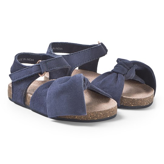 Carrément Beau Blue Velcro Sandals with Bow Detail 85T