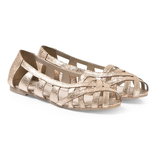 Carrément Beau Gold Strappy Open Ballerina Shoes 593