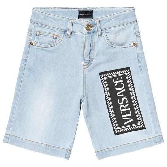 Versace Blue Light Wash Branded Print Denim Shorts Y4628