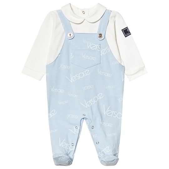 Versace White and Pale Blue Branded Footed Baby Body Y5163