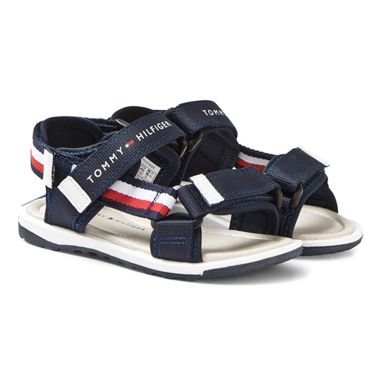 Tommy Hilfiger Navy Red and White Stripe Velcro Fabric Sandals 800
