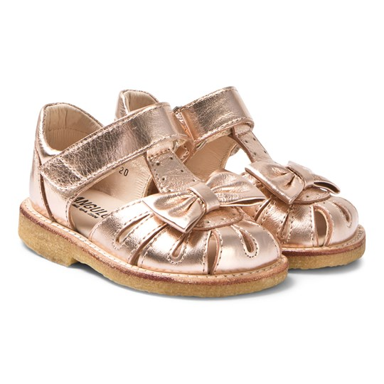 Angulus Rose Gold Leather Bow Closed Toe Sandals 1311