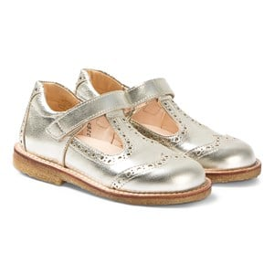 Image of Angulus Champagne Gold Brogue T Bar sko 23 (UK 6) (3125312769)