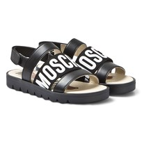 ad872d6cf Moschino Kid-Teen Leather Branded Velcro Sandals Black 1A06