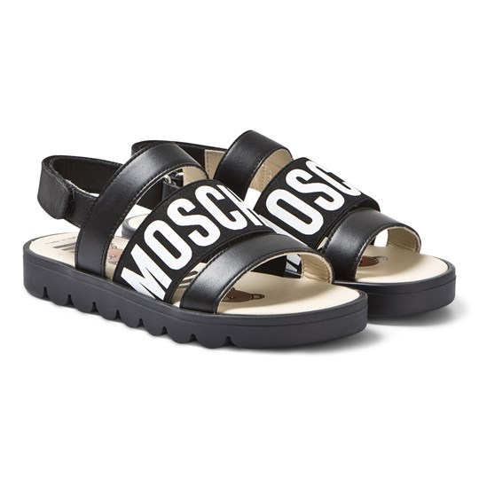 Moschino Kid-Teen Leather Branded Velcro Sandals Black 1A06