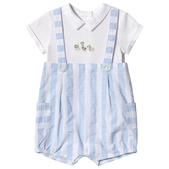 Mayoral Sky Blue and White Stripe Overalls Romper 49