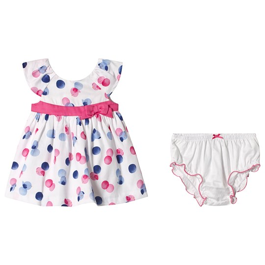 Mayoral Pink and Blue Bird Print Dress with Bloomer Set 46
