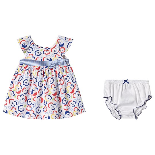 Mayoral Blue and Red Floral Dress with Bloomer Set 45