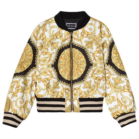 Versace White and Gold Baroque Medusa Print Bomber Jacket Y4954