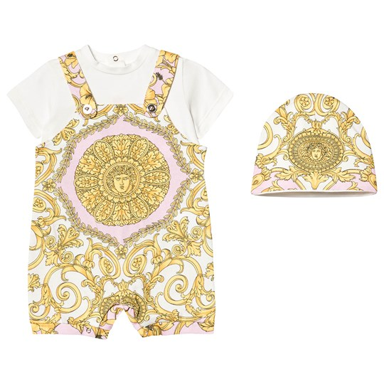 Versace White and Gold Baroque Print Romper and Hat Gift Set Y5176