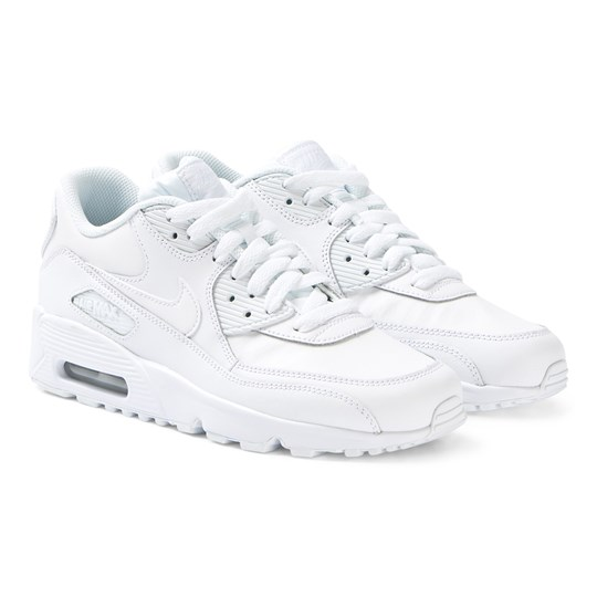 NIKE White Nike Air Max 90 Leather Sneakers 100