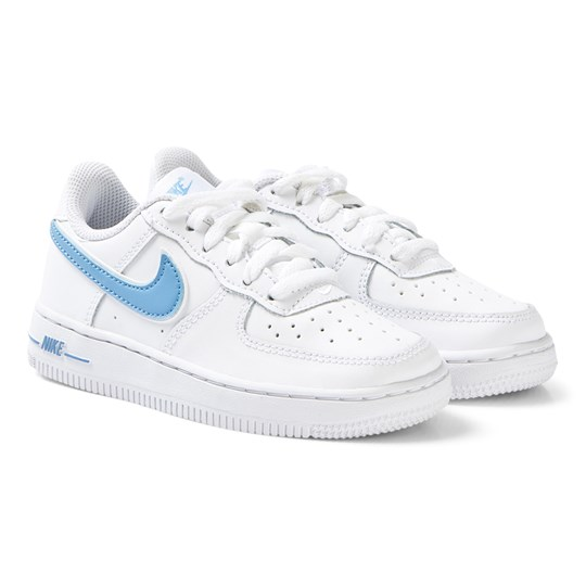 NIKE White and Blue Nike Air Force 1-3 Sneakers 102