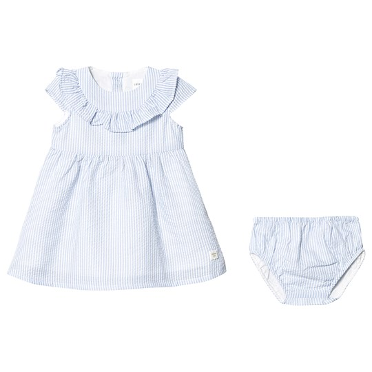 Carrément Beau Blue and White Stripe Cotton Dress with Bloomers N48
