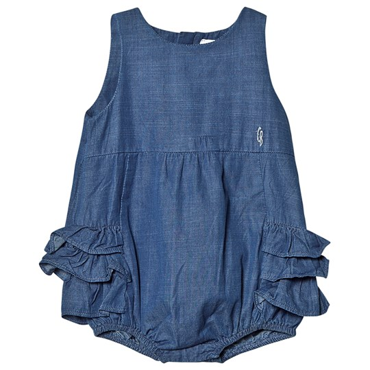 Carrément Beau Blue Light Wash Denim Romper with Ruffles Z27