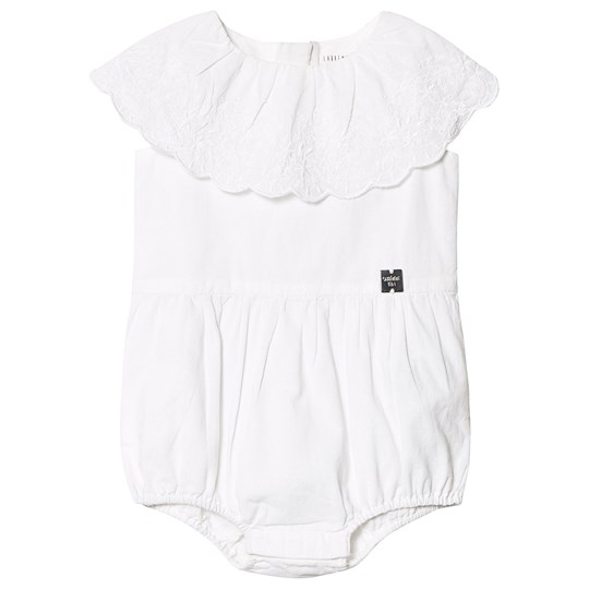 Carrément Beau White Cotton Romper with Floral Embroidered Ruffle Neckline 10B