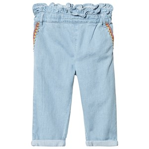 Image of Carrément Beau Blue Light Denim Jeans with Embroidery Detail 10 years (3125237443)