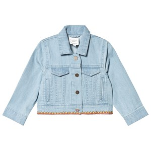 Image of Carrément Beau Blue Light Denim Jacket with Embroidered Hem 10 years (3125237479)