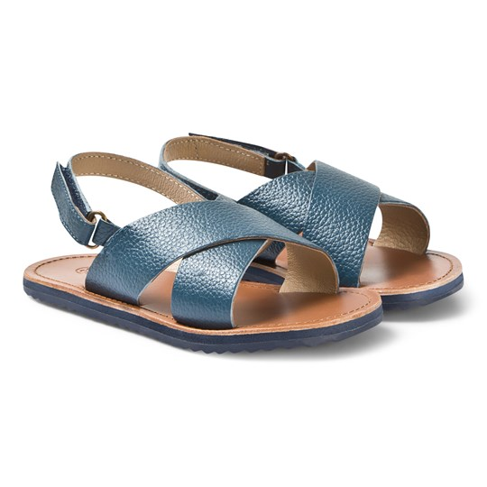 Carrément Beau Navy Leather Cross Over Velcro Sandals 85T