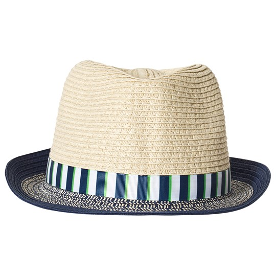 Mayoral Woven Straw Trilby in Navy/Beige 90