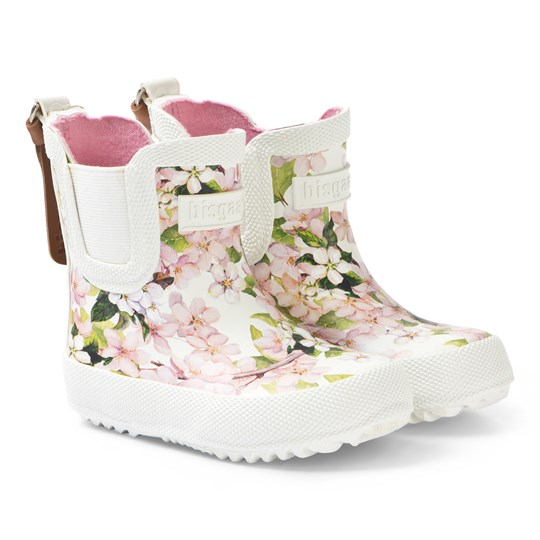 Bisgaard Rubber Baby Boots Cream Flowers Creme-Flowers
