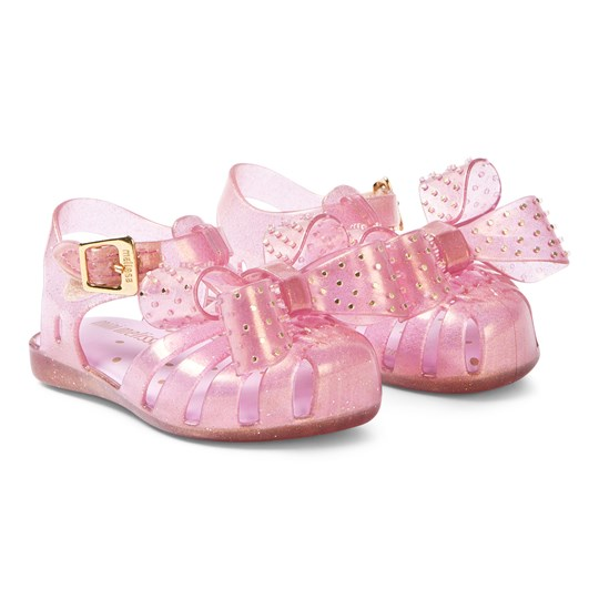 Mini Melissa Pink Glitter Aranha Disco Bow Sandals 13538