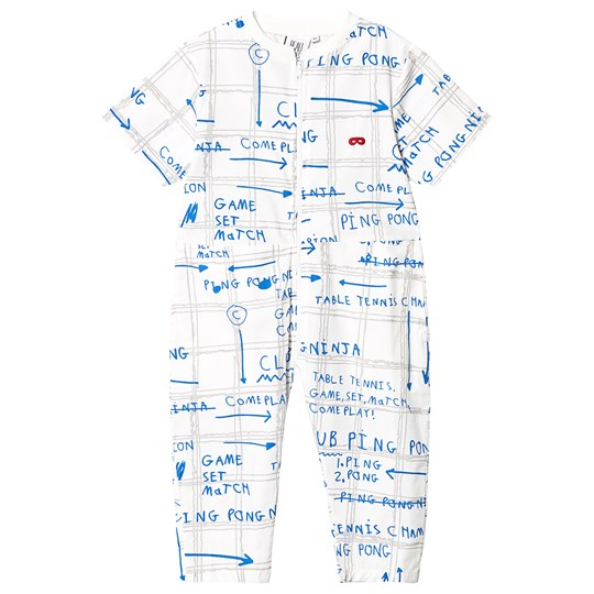 Beau Loves Game Plan Poplin Jumpsuit Ecru Grey/Blue Game Plan