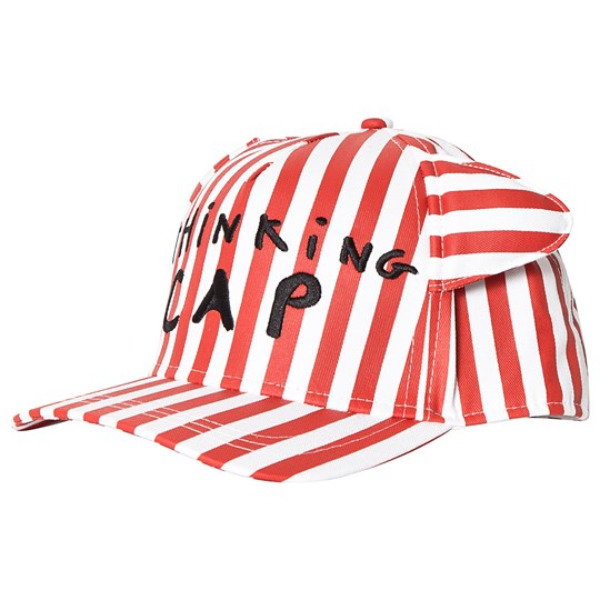 Beau Loves Deck Chair Stripe Cap with Ears Red/White Ecru/Tomato Red, Stripes