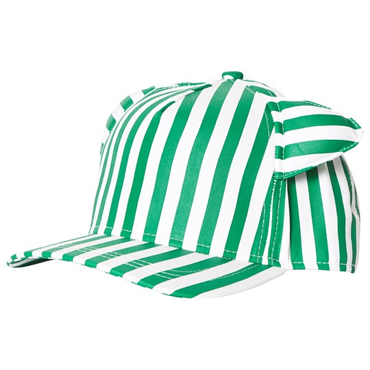 Beau Loves Stripe Cap with Ears Green/White Green/White, Stripes