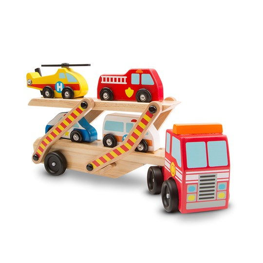 Melissa & Doug Emergency Vehicle Carrier Punainen