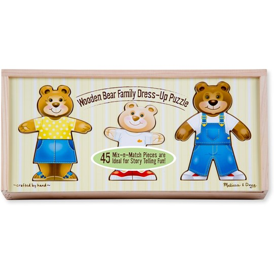 Melissa & Doug Bear Family Dress Up Puzzle Multi