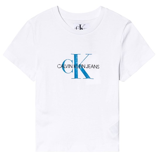 Calvin Klein Jeans White and Blue Monogram Logo Tee 100