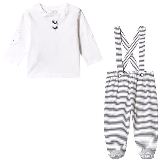 Mayoral Stripe Footed Overall Long Sleeve Tee White/Black 40