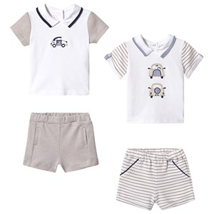 Image of Mayoral 2-Pack Polo and Shorts Set White/Beige 1-2 months (3125339363)