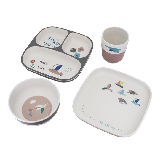 sebra Bamboo Dinner set 4 Parts Singing Birds