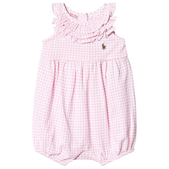 Ralph Lauren Pink Gingham Romper with Small PP 001