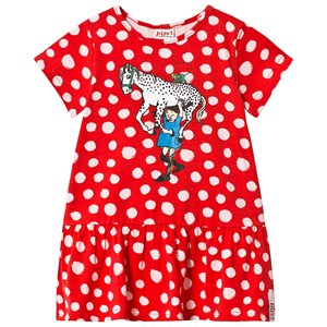 Image of Pippi Långstrump Pippi Dress Polkadots Red 110 cm (4-5 år) (3135225663)