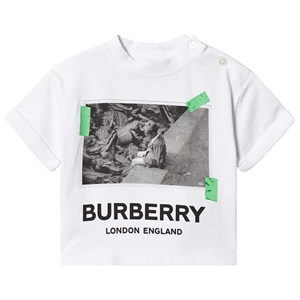 Image of Burberry White Burberry Alligator Print Tee 6 months (3125358915)