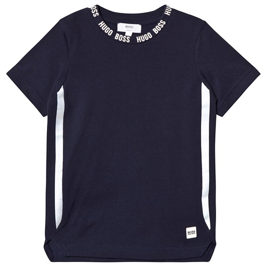 BOSS Navy Taped Neck Branded Tee 849