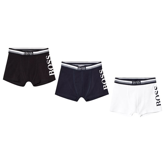 BOSS 3 Pack of Black, Blue and White Branded Boxers 849